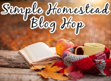 """picture of a book and a mug in a fall setting with the words """"Simple homestead blog hop"""""""